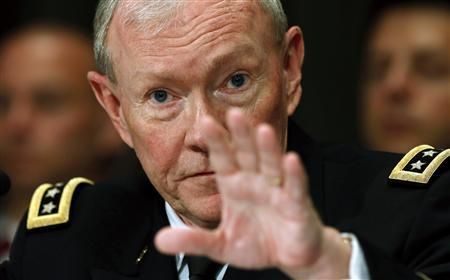 U.S. Chairman of the Joint Chiefs of Staff Gen. Martin Dempsey testifies at a Senate Appropriations Defense Subcommittee hearing on ''Department Leadership.'' on Capitol Hill in Washington June 11, 2013. REUTERS/Kevin Lamarque