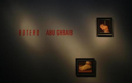 Paintings by Colombian artist Fernando Botero from his Abu Ghraib collection are displayed at the Arts Center in the northern city of Monterrey February 7, 2008. REUTERS/Tomas Bravo/Files
