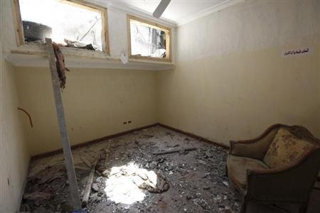 The damaged interior of a house, where four Egyptian Shi'ites were killed, is pictured in the suburb of Zawiyat Abu Musallem, on the outskirts of Cairo, June 24, 2013. REUTERS/Mohamed Abd El Ghany