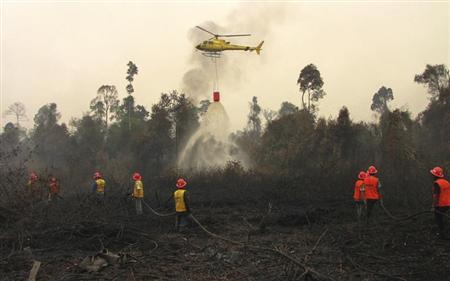 A helicopter drops water on burnt peatland in Siak district of Riau province June 24, 2013. REUTERS/Fikih Auli