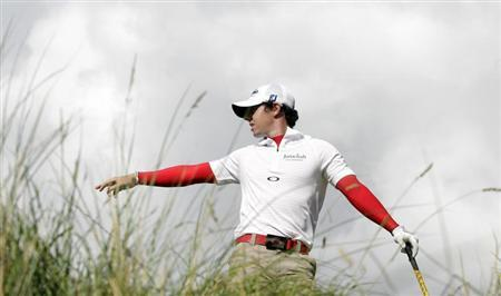 Rory McIlroy gestures on the 15th tee on the first day of the Irish Open golf tournament at Royal Portrush, Northern Ireland June 28, 2012. REUTERS/Cathal McNaughton