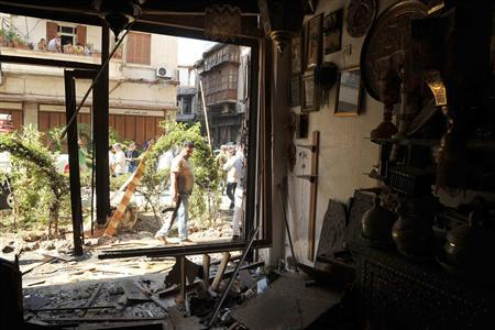 A view shows debris in shop after a suicide bomb hit the central neighbourhood of Bab Touma in Damascus, a famous Christian quarter of the capital's Old City, June 27, 2013, in this handout photograph released by Syria's national news agency SANA. REUTERS/SANA/Handout via Reuters