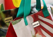 Bags made from used canvases are on display at the shop of Austrian design label Gabarage in Vienna June 13, 2013. REUTERS/Heinz-Peter Bader