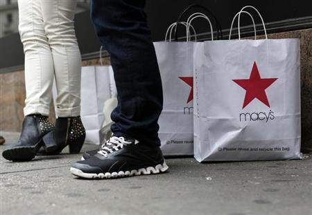Customers stand outside Macy's store in New York, April 11, 2013. REUTERS/Brendan McDermid