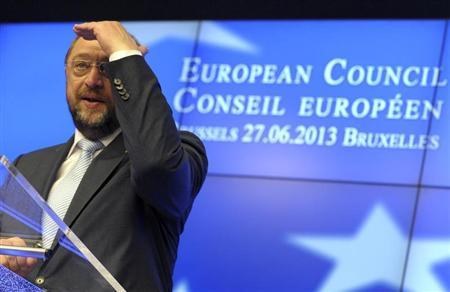 European Parliament President Martin Schulz holds a news conference during a European Union leaders summit in Brussels June 27, 2013. REUTERS/Laurent Dubrule