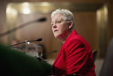Gina McCarthy testifies before a Senate Environment and Public Works Committee hearing on her nomination to be administrator of the Environmental Protection Agency on Capitol Hill in Washington April 11, 2013. REUTERS/Joshua Roberts