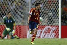 O espanhol Jesus Navas comemora após converter o pênalti da vitória em disputado jogo contra a Itália pela Copa das Confederações, em Fortaleza, nesta quinta-feira. 27/06/2013 REUTERS/Ivan Alvarado