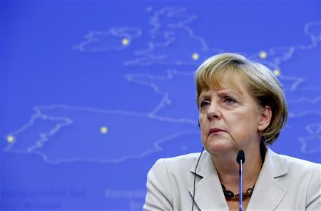 German Chancellor Angela Merkel holds a news conference during the European Union leaders summit in Brussels June 28, 2013. REUTERS/Yves Herman