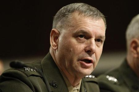 File photo of General James E. Cartwright, USMC Vice Chairman of the Joint Chiefs of Staff, testifies before the Senate Armed Services Committee hearing on a repeal of section 654 of title 10, United States Code, ''Policy Concerning Homosexuality in the Armed Forces'' on Capitol Hill in Washington December 3, 2010. REUTERS/Hyungwon Kang