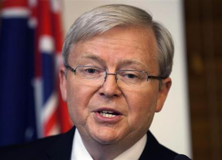 Australia's former prime minister Kevin Rudd speaks to the media at Parliament House in Canberra June 26, 2013. REUTERS/Andrew Taylor