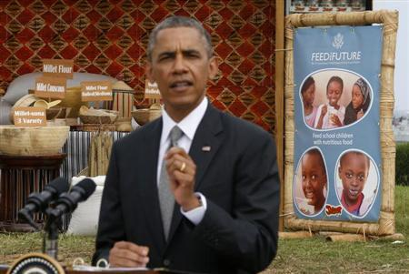 U.S. President Barack Obama delivers remarks on African food security as he visits a food security expo in Dakar June 28, 2013. REUTERS/Jason Reed