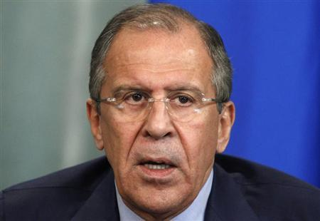 Russia's Foreign Minister Sergei Lavrov speaks during a news conference after a meeting with his Algerian counterpart Mourad Medelci in Moscow, June 25, 2013. REUTERS/Sergei Karpukhin