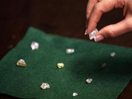 A visitor holds a 17 carat diamond at a Petra Diamonds mine in Cullinan, outside Pretoria, January 22, 2009. REUTERS/Siphiwe Sibeko/Files