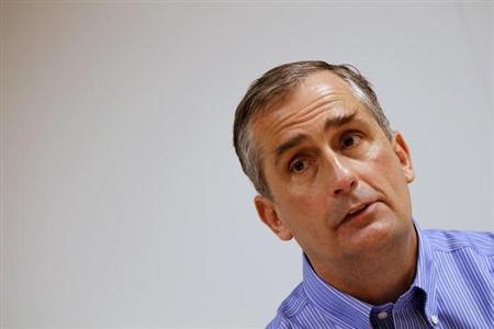 Intel's Brian Krzanich is seen during an interview with Reuters at Intel headquarters in Santa Clara, California March 13, 2012. REUTERS/Robert Galbraith/Files