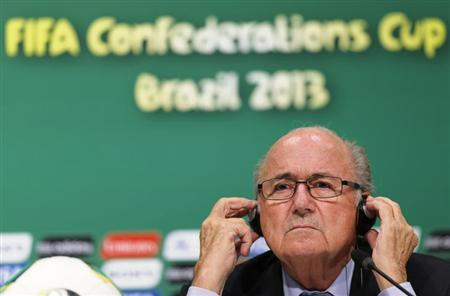 FIFA President Sepp Blatter listens to a question during a news conference ahead of the Confederations Cup soccer final match on Sunday, between Brazil and Spain, in Rio de Janeiro June 28, 2013. REUTERS/Sergio Moraes