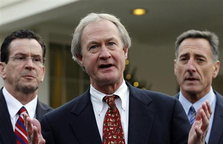 Newly elected Rhode Island Governor Lincoln Chafee (C) speaks to the media between other Governors-elect Dan Malloy of Connecticut (L) and Peter Shumlin of Vermont outside the West Wing of the White House in Washington, December 2, 2010. REUTERS/Jason Reed
