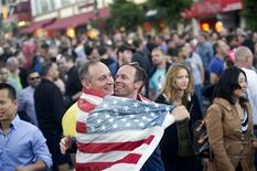 Ron Gerling (L) and Darrin Martin celebrate in San Francisco, California after the United States Supreme Court's ruled on California's Proposition 8 and the federal Defense of Marriage Act June 26, 2013. REUTERS/Noah Berger