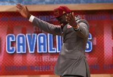 Anthony Bennett from the University of Nevada Las Vegas (UNLV) reacts after being selected by the Cleveland Cavaliers as the first overall pick in the 2013 NBA Draft in Brooklyn, New York, June 27, 2013. REUTERS/Mike Segar