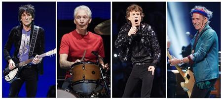 A combination photo shows Rolling Stones members (L-R): Ronnie Wood, Charlie Watts, Mick Jagger and Keith Richards performing at a concert during the band's ''50 and Counting'' tour in Chicago May 28, 2013. REUTERS/John Gress