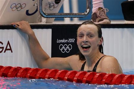 Winner Katie Ledecky of the U.S. celebrates after the women's 800m freestyle final during the London 2012 Olympic Games at the Aquatics Centre August 3, 2012. REUTERS/Jorge Silva