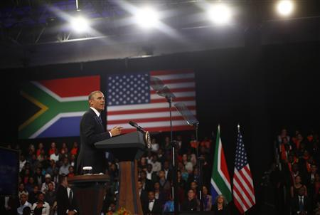 U.S. President Barack Obama participates in a town hall-style meeting with young African leaders at the University of Johannesburg Soweto, June 29, 2013. REUTERS/Jason Reed