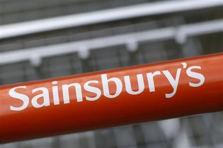 A shopping trolley is seen at a Sainsbury store in London May 8, 2013. REUTERS/Stefan Wermuth