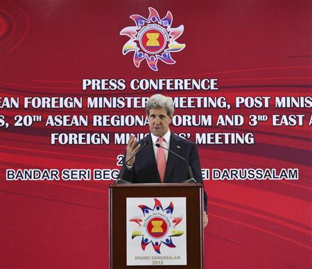 U.S. Secretary of State John Kerry speaks during a news conference at the 46th Association of Southeast Asian Nations (ASEAN) Foreign Ministers Meeting in Bandar Seri Begawan July 1, 2013. REUTERS/Ahim Rani
