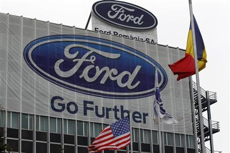 The Ford logo is seen at Ford car plant in Craiova, 230km (143 miles) west of Bucharest, October 29, 2012. REUTERS/Bogdan Cristel/Files