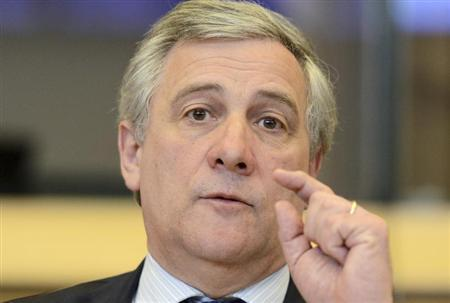 Vice President of the European Commission Antonio Tajani meets EU officials to discuss plans to close ArcelorMittal plants at the EU Commission in Brussels February 12, 2013. REUTERS/Laurent Dubrule
