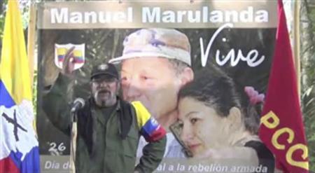 Timoleon Jimenez, rebel commander of the Revolutionary Armed Forces of Colombia (FARC), is seen in this still image taken from video released on an internet web page on September 3, 2012. REUTERS/Farc Video/Handout