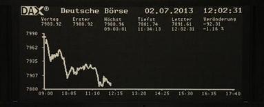 Вид на табло фондовой биржи во Франкфурте-на-Майне 2 июля 2013 года. Европейские фондовые индексы снижаются во вторник из-за медицинской группы Fresenius и производителя продуктов питания Danone. REUTERS/Remote/Stringer