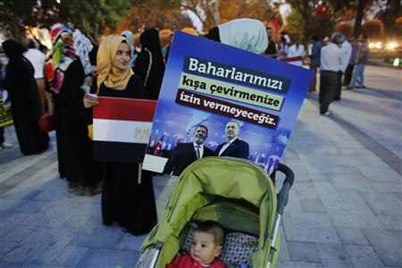 A poster with the pictures of Egypt's President Mohamed Mursi and Turkey's Prime Minister Tayyip Erdogan (R) is attached to a baby stroller during a pro-Islamist demonstration in Istanbul July 1, 2013. REUTERS/Murad Sezer