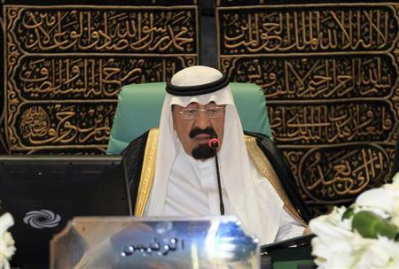 Saudi Arabia's King Abdullah speaks at the opening ceremony of the Organisation of Islamic Conference (OIC) summit in Mecca August 14, 2012. REUTERS/Hassan Ali