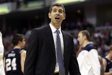 Butler University head coach Brad Stevens questions an official's call during the second half of an NCAA basketball game against Indiana University in Indianapolis December 15, 2012. REUTERS/Brent Smith