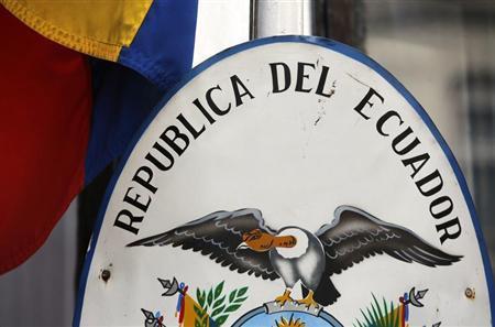 The national flag flies outside Ecuador's embassy in central London June 16, 2013. REUTERS/Chris Helgren