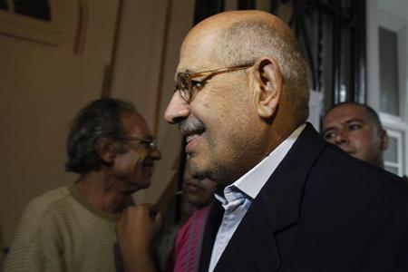 Senior opposition figure Mohamed ElBaradei arrives to speak with anti-Mursi protesters made up of intellectuals and artists inside Egypt's Ministry of Culture during their sit-in protest against Egypt's new Minister of Culture Alaa Abdel Aziz and what demonstrators claimed are increasing influence of the Muslim Brotherhood over the Ministry of Culture, in Cairo June 16, 2013. REUTERS/Asmaa Waguih