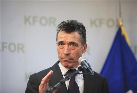 NATO Secretary-General Anders Fogh Rasmussen speaks during a joint news conference with Kosovo's Prime Minister Hashim Thaci in Pristina July 3, 2013. REUTERS/Hazir Reka