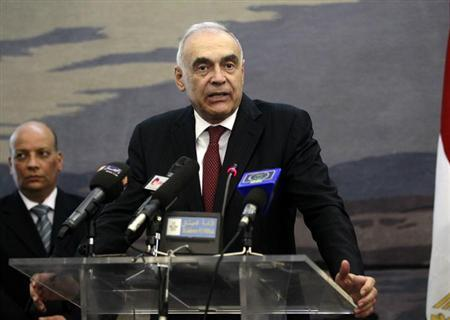 Egypt's Foreign Minister Mohamed Kamel Amr speaks during a joint news conference with Algeria's Foreign Minister Mourad Medelci (not pictured) in Algiers June 27, 2013. REUTERS/Louafi Larbi