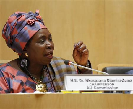 Nkosazana Dlamini Zuma, chairperson of African Union Commission, delivers her speech during the closing ceremony of the African Union 21st Ordinary Session of the Assembly of Heads of States and Government in capital Addis Ababa May 27, 2013. REUTERS/Tiksa Neger
