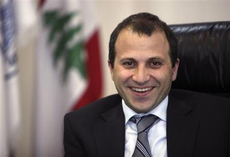 Lebanon's Minister of Energy and Water Gebran Bassil smiles during an inteview with Reuters at his office in Beirut June 14, 2010. REUTERS/ Cynthia Karam