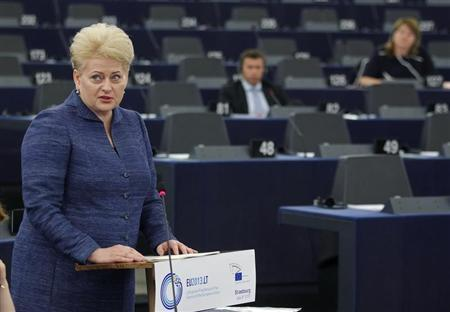 Lithuania's President Dalia Grybauskaite addresses the European Parliament during a debate on the program of the Lithuanian presidency of the EU for the next six months, in Strasbourg, July 3, 2013. REUTERS/Vincent Kessler