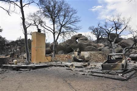 A burned home is seen in an unidentified neighborhood west of Highway 89 in Yarnell, Arizona July 3, 2013. REUTERS/Todd Tamcsin