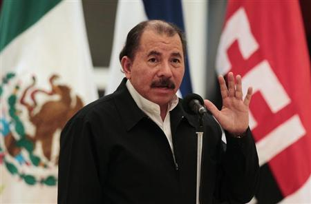 Nicaragua's President Daniel Ortega speaks during the presentation of credentials from Mexico's Ambassador to Nicaragua Juan Rodrigo Labardini at the La Casa de los Pueblos in Managua February 8, 2013. REUTERS/Oswaldo Rivas