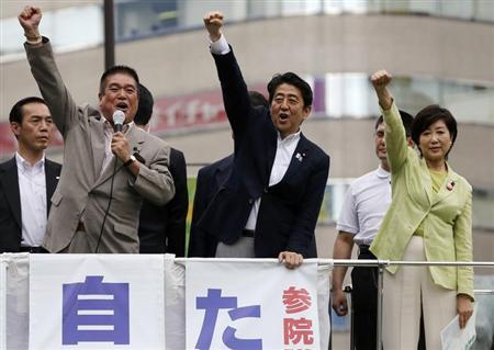 Japan's Prime Minister Shinzo Abe (C), who is also leader of the ruling Liberal Democratic Party, raises his fist with his party members at the start day of campaigning for the July 21 Upper house election in Tokyo July 4, 2013. REUTERS/Toru Hanai