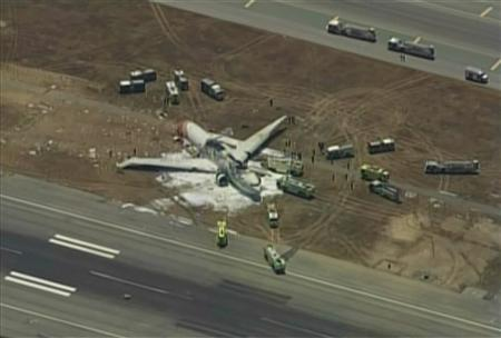 An Asiana Airlines Boeing 777 is pictured after it crashed while landing in this KTVU image at San Francisco International Airport in California, July 6, 2013. REUTERS/KTVU/Handout via Reuters