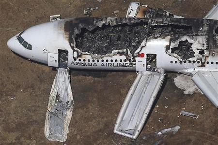 An aerial view of an Asiana Airlines Boeing 777 plane is seen after it crashed while landing at San Francisco International Airport in California on July 6, 2013. REUTERS/Jed Jacobsohn