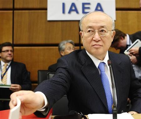 International Atomic Energy Agency (IAEA) Director General Yukiya Amano reaches for paper before an IAEA meeting in Vienna June 5, 2013. REUTERS/Heinz-Peter Bader