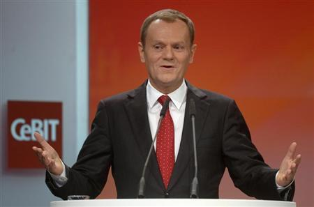 Poland's Prime Minister Donald Tusk delivers his speech during the opening ceremony of the CeBIT computer fair in Hanover March, 4, 2013. REUTERS/Fabian Bimmer