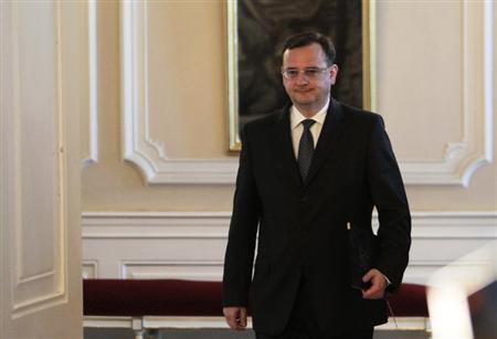 Czech Prime Minister Petr Necas arrives to tender his resignation to President Milos Zeman (unseen), at the Prague Castle June 17, 2013. REUTERS/David W Cerny