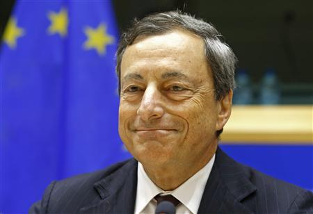 European Central Bank (ECB) President Mario Draghi takes part in the European Parliament's Economic and Monetary Affairs Committee in Brussels July 8, 2013. REUTERS/Yves Herman